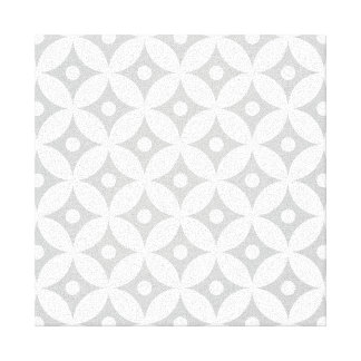 Modern Gray and White Circle Polka Dots Pattern Canvas Print