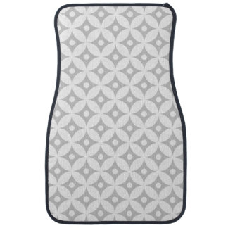 Modern Gray and White Circle Polka Dots Pattern Car Mat