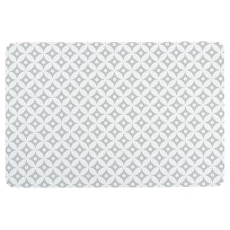 Modern Gray and White Circle Polka Dots Pattern Floor Mat