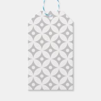 Modern Gray and White Circle Polka Dots Pattern Gift Tags
