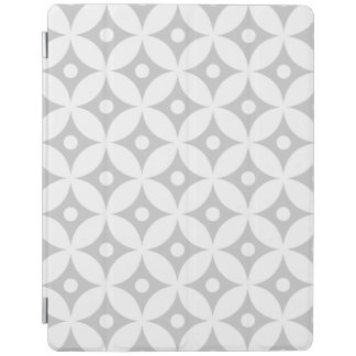 Modern Gray and White Circle Polka Dots Pattern iPad Cover