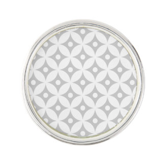 Modern Gray and White Circle Polka Dots Pattern Lapel Pin