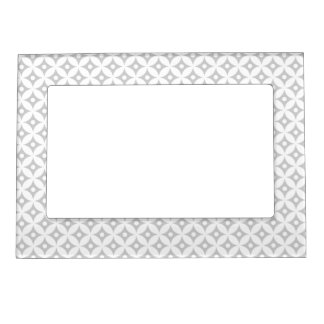 Modern Gray and White Circle Polka Dots Pattern Magnetic Picture Frame