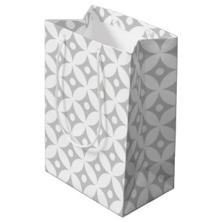 Modern Gray and White Circle Polka Dots Pattern Medium Gift Bag