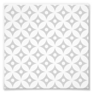 Modern Gray and White Circle Polka Dots Pattern Photo Print