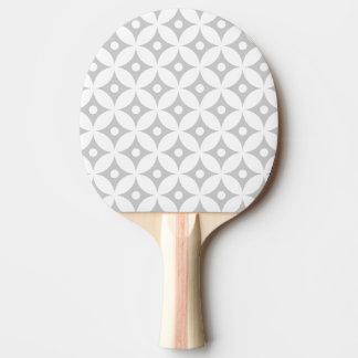 Modern Gray and White Circle Polka Dots Pattern Ping Pong Paddle