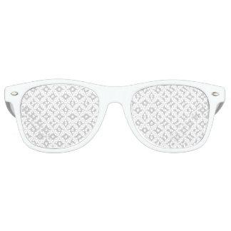 Modern Gray and White Circle Polka Dots Pattern Retro Sunglasses