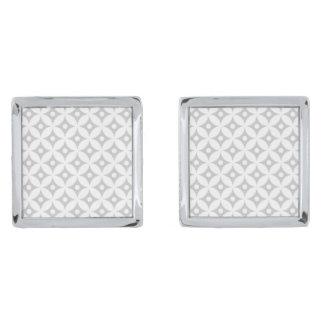Modern Gray and White Circle Polka Dots Pattern Silver Finish Cuff Links