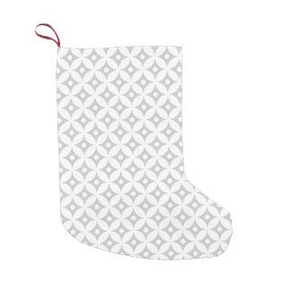 Modern Gray and White Circle Polka Dots Pattern Small Christmas Stocking