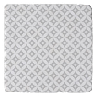 Modern Gray and White Circle Polka Dots Pattern Trivet