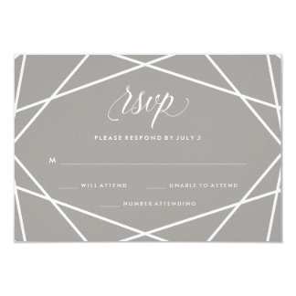 Modern Gray and White Geometric Lines | RSVP 9 Cm X 13 Cm Invitation Card