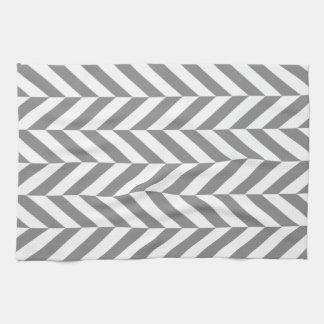 Modern gray and white herringbone tea towel