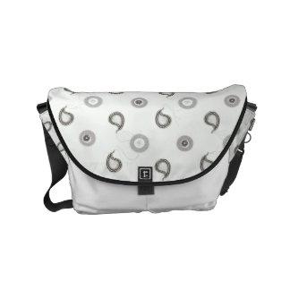 Modern Gray and White Paisley Messenger Bags