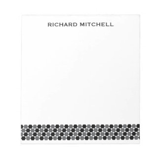 Modern gray black hexagons personalized name notepads