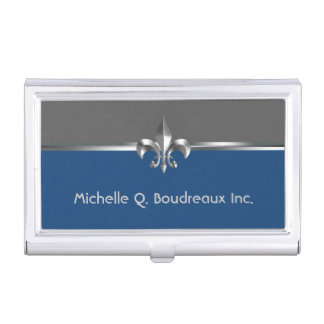 Modern Gray Blue Fleur de Lis Business Card Holder