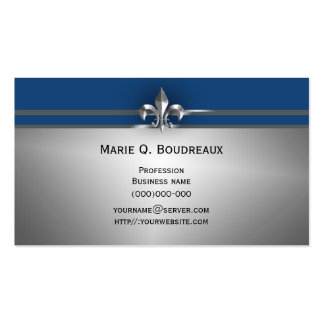 Modern Gray Blue Fleur de Lis Pack Of Standard Business Cards
