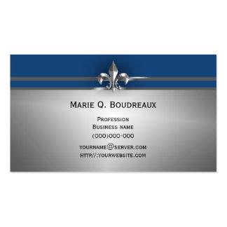 Modern Gray Blue Fleur de Lis Pack Of Standard Business Cards