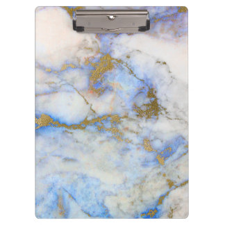 Modern Gray Blue & Gold Marble Stone Clipboard
