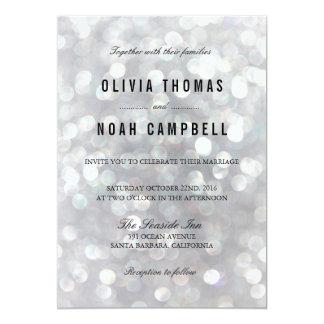 Modern Gray Blur Lights Elegant Wedding Invitation