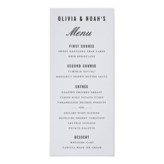 Modern Gray Bokeh Blur Elegant Wedding Menu Card