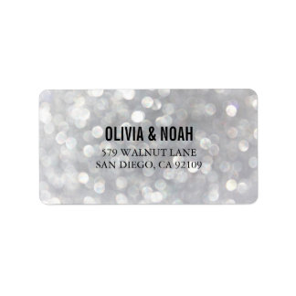 Modern Gray Bokeh Elegant Wedding Address Labels