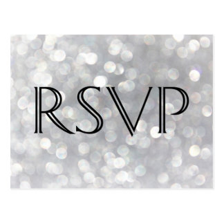Modern Gray Bokeh Elegant Wedding RSVP Postcard