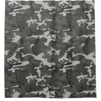 Modern Gray Camoflage Pattern Shower Curtain