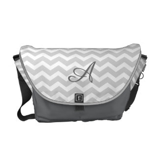 Modern Gray Chevron Stripes Monogram Messenger Bag
