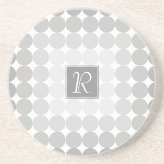 Modern Gray Circles Monogram Coaster