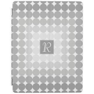 Modern Gray Circles Monogram iPad Cover