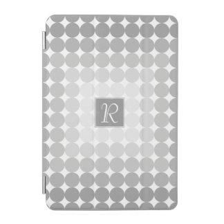 Modern Gray Circles Monogram iPad Mini Cover