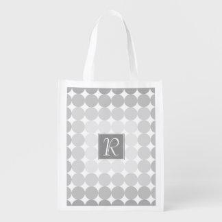 Modern Gray Circles Monogram Reusable Grocery Bag