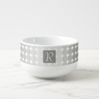 Modern Gray Circles Monogram Soup Mug