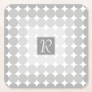 Modern Gray Circles Monogram Square Paper Coaster