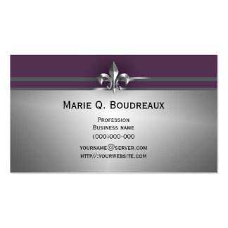 Modern Gray Eggplant Fleur de Lis Pack Of Standard Business Cards