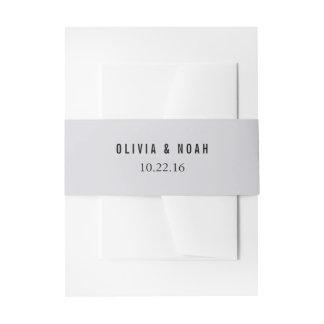 Modern Gray Elegant Wedding Invitation Belly Band