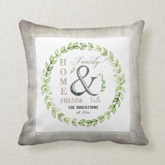 Modern Gray Farm Wreath Ampersand Home Family Name Cushion