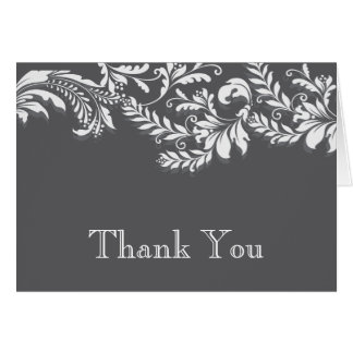 Modern Gray Floral Leaf Flourish Thank You Note Note Card