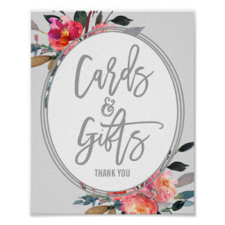 Modern Gray | Flower Wreath Cards and Gifts Sign Poster