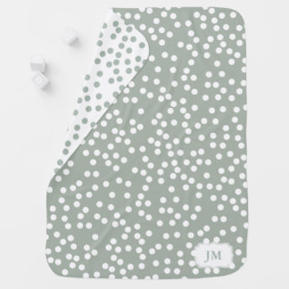 Modern Gray Green and White Polka Dot Baby Blanket