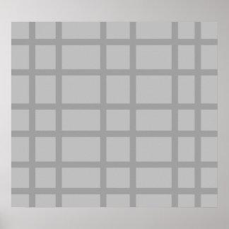 Modern gray grid pattern poster
