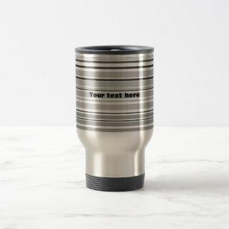 Modern gray horizontal stripes stainless steel travel mug