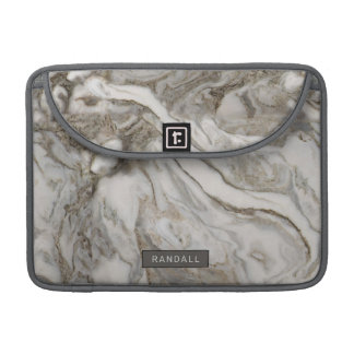 Modern Gray Marble Pattern with Your Name Sleeve For MacBook Pro