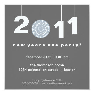 Modern Gray New Years Eve Party Invitation