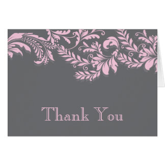 Modern Gray & Pink Leaf Flourish Thank You Note Note Card