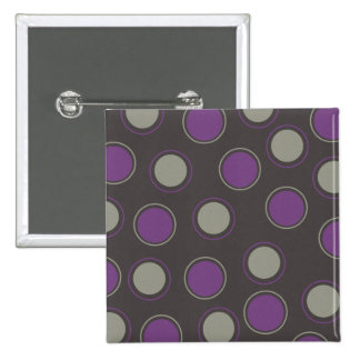 Modern Gray Purple Polka Dots Concentric Circles Pins