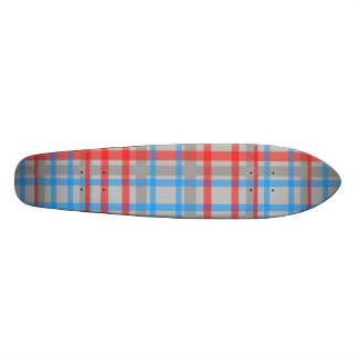 Modern gray red and blue plaid skateboard deck