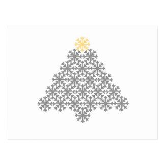 Modern Gray Snowflake Christmas Tree Card Postcard