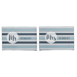 Modern Gray Striped Mr And Mrs Pillowcase