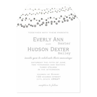 Modern Gray Tones Garland Wedding Card